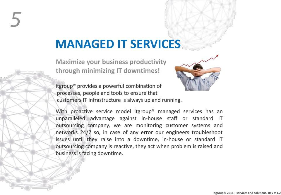 With proactive service model itgroup managed services has an unparalleled advantage against in-house staff or standard IT outsourcing company, we are monitoring customer