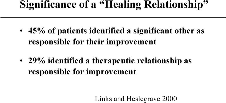 improvement 29% identified a therapeutic relationship
