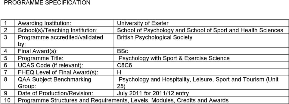 Exercise Science 6 UCAS Code (if relevant): C8C6 7 FHEQ Level of Final Award(s): H 8 QAA Subject Benchmarking Group: Psychology and Hospitality, Leisure,