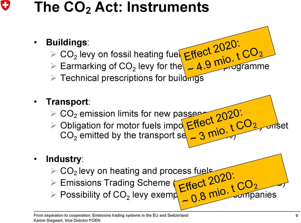 for motor fuels importers to domestically offset CO 2 emitted by the transport sector (5-40%) Industry: CO 2 levy on