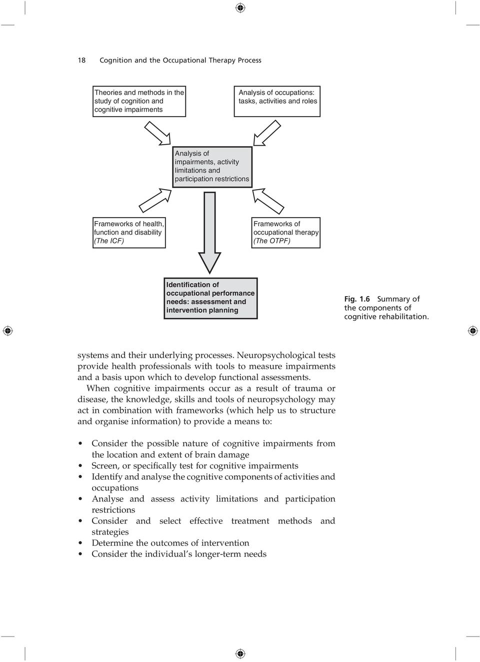 performance needs: assessment and intervention planning Fig. 1.6 Summary of the components of cognitive rehabilitation. systems and their underlying processes.