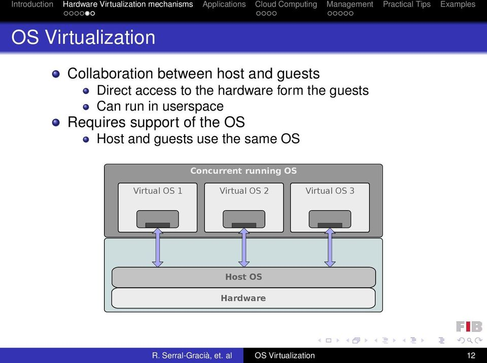 Host and guests use the same OS Concurrent running OS Virtual OS 1 Virtual