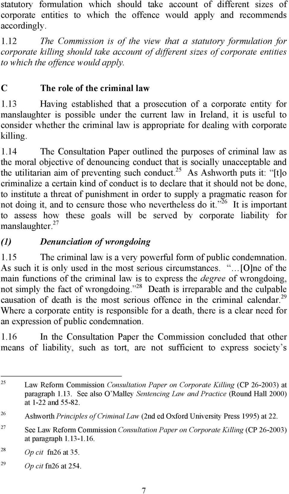 C The role of the criminal law 1.