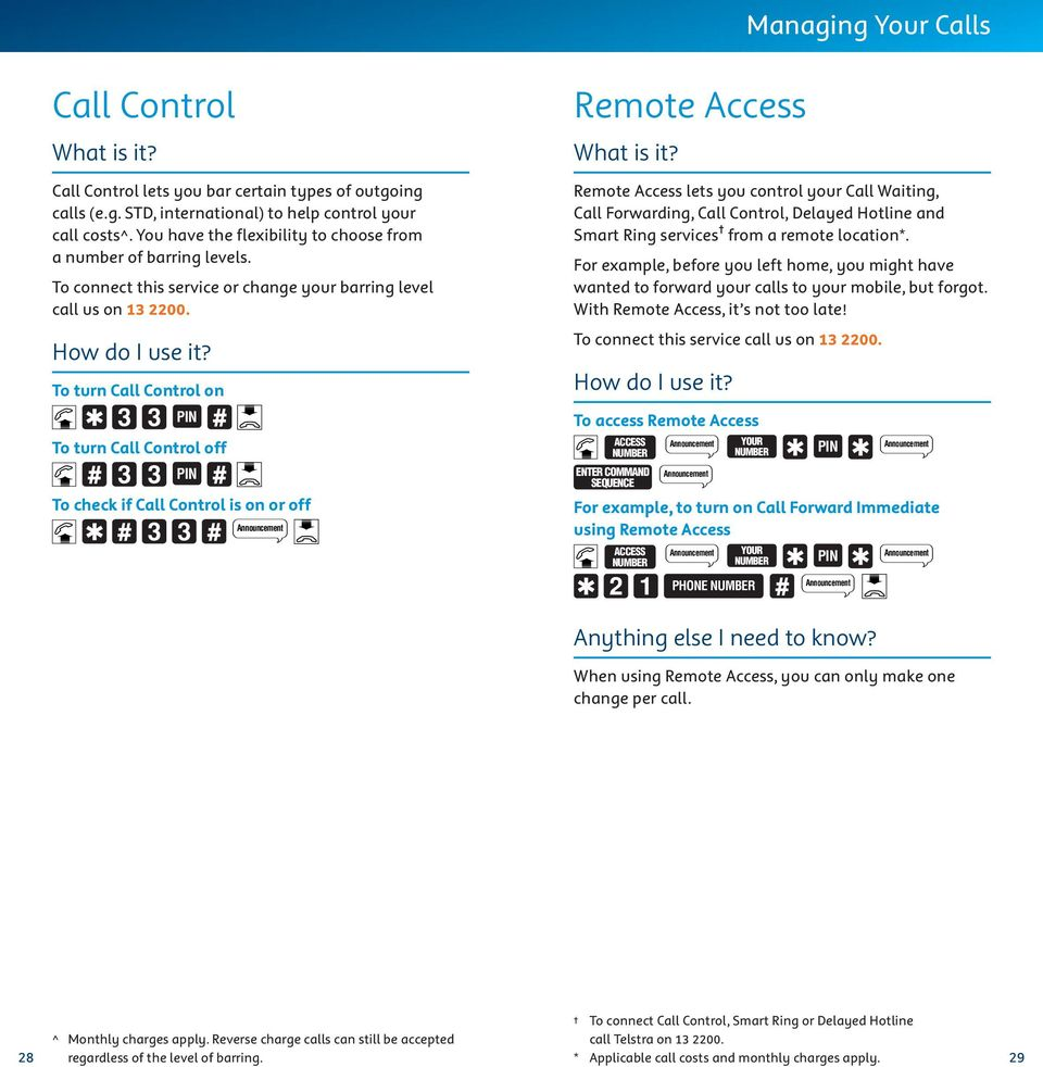 To turn Call Control on To turn Call Control off To check if Call Control is on or off Remote Access Remote Access lets you control your Call Waiting, Call Forwarding, Call Control, Delayed Hotline
