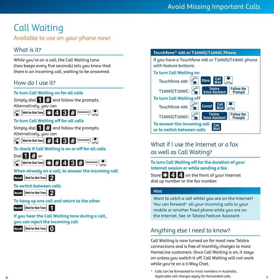Alternatively, you can To check if Call Waiting is on or off for all calls Dial or When already on a call, to answer the incoming call To switch between calls To hang up one call and return to the