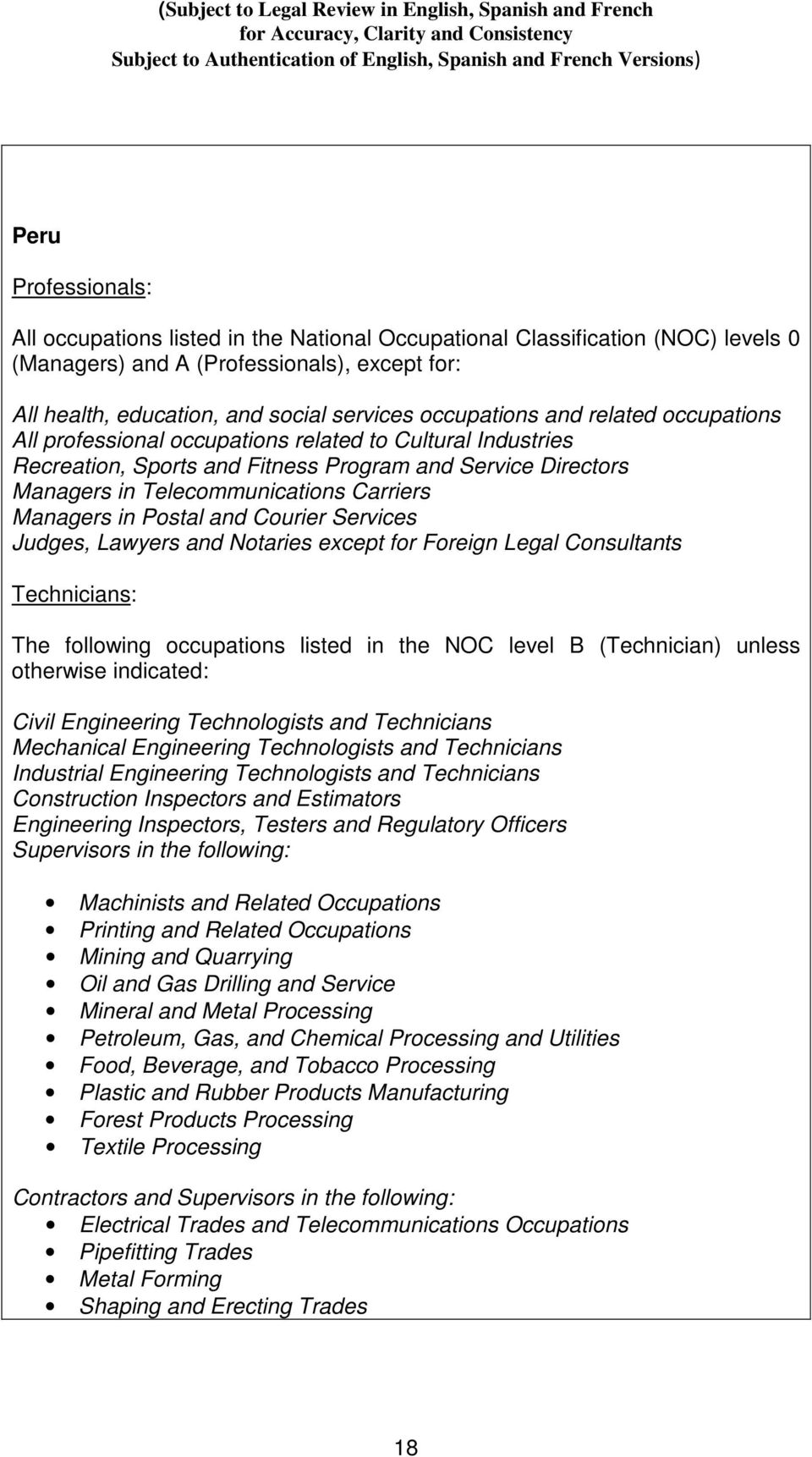 Managers in Postal and Courier Services Judges, Lawyers and Notaries except for Foreign Legal Consultants Technicians: The following occupations listed in the NOC level B (Technician) unless