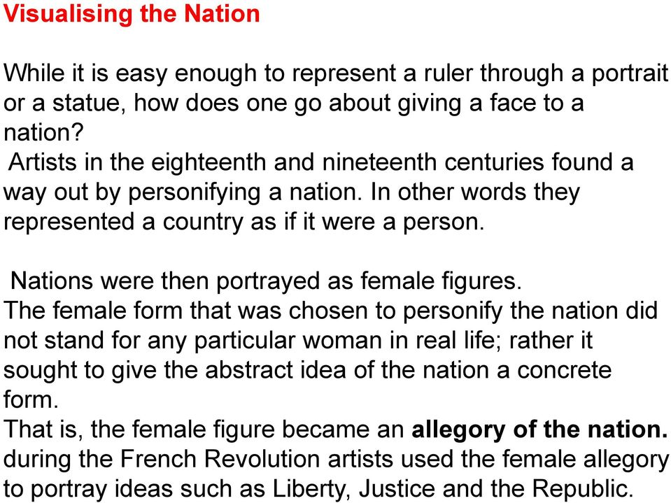 Nations were then portrayed as female figures.
