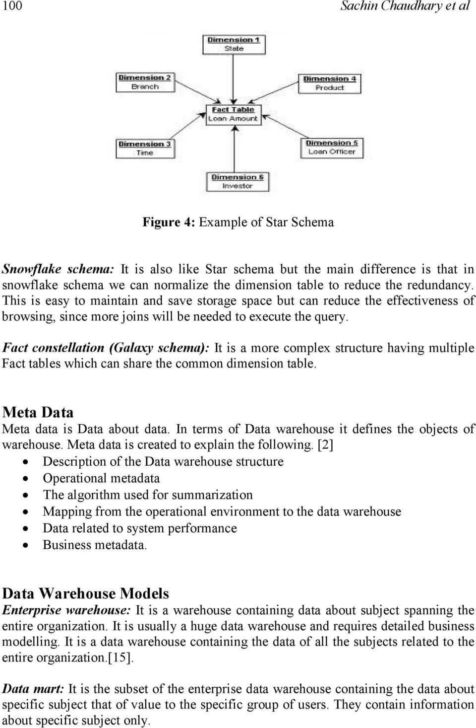 Fact constellation (Galaxy schema): It is a more complex structure having multiple Fact tables which can share the common dimension table. Meta Data Meta data is Data about data.