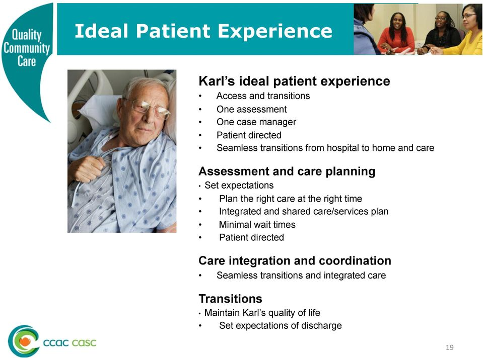 care at the right time Integrated and shared care/services plan Minimal wait times Patient directed Care integration and