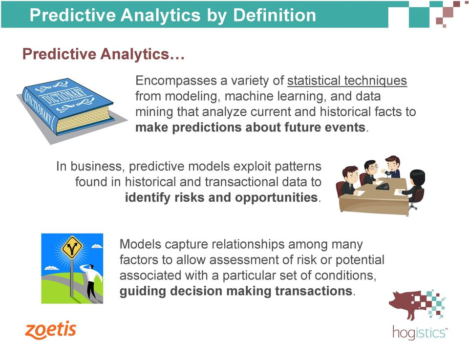 In business, predictive models exploit patterns found in historical and transactional data to identify risks and opportunities.