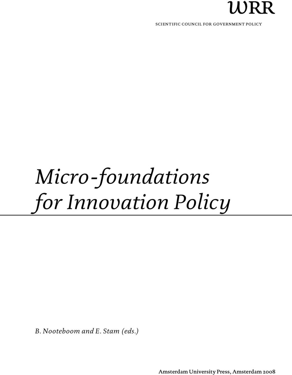 Innovation Policy B. Nooteboom and E.