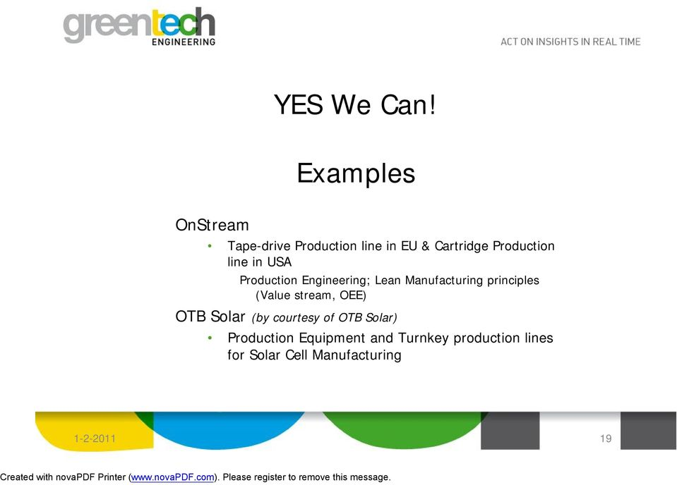 line in USA Production Engineering; Lean Manufacturing principles (Value