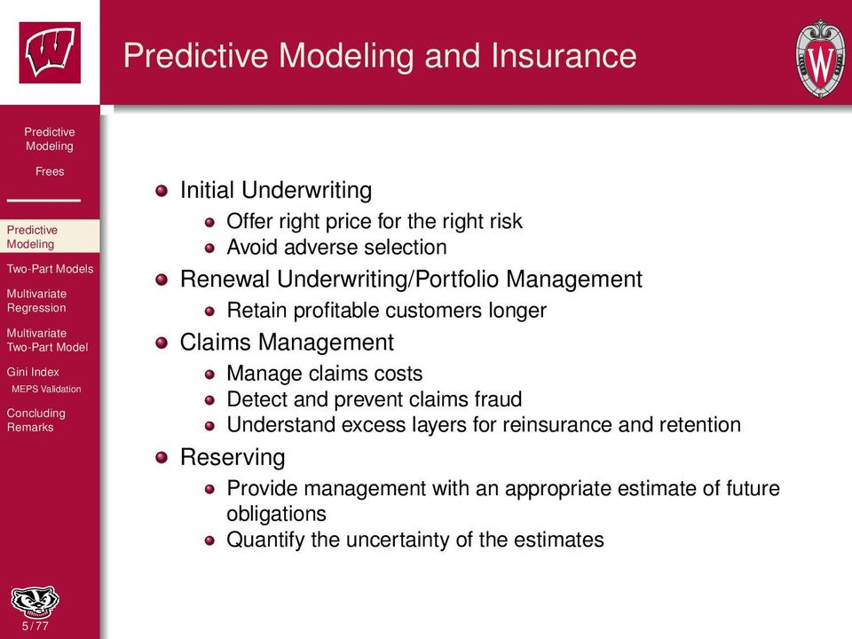 Detect and prevent claims fraud Understand excess layers for reinsurance and retention Reserving Provide