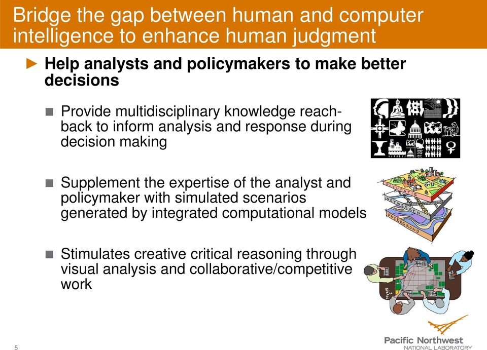 making Supplement the expertise of the analyst and policymaker with simulated scenarios generated by integrated