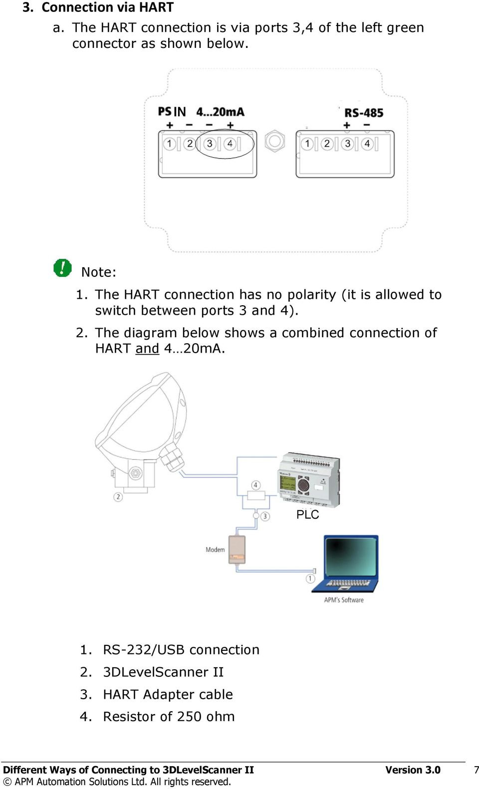 The diagram below shows a combined connection of HART and 4 20mA. PLC 1. RS-232/USB connection 2.