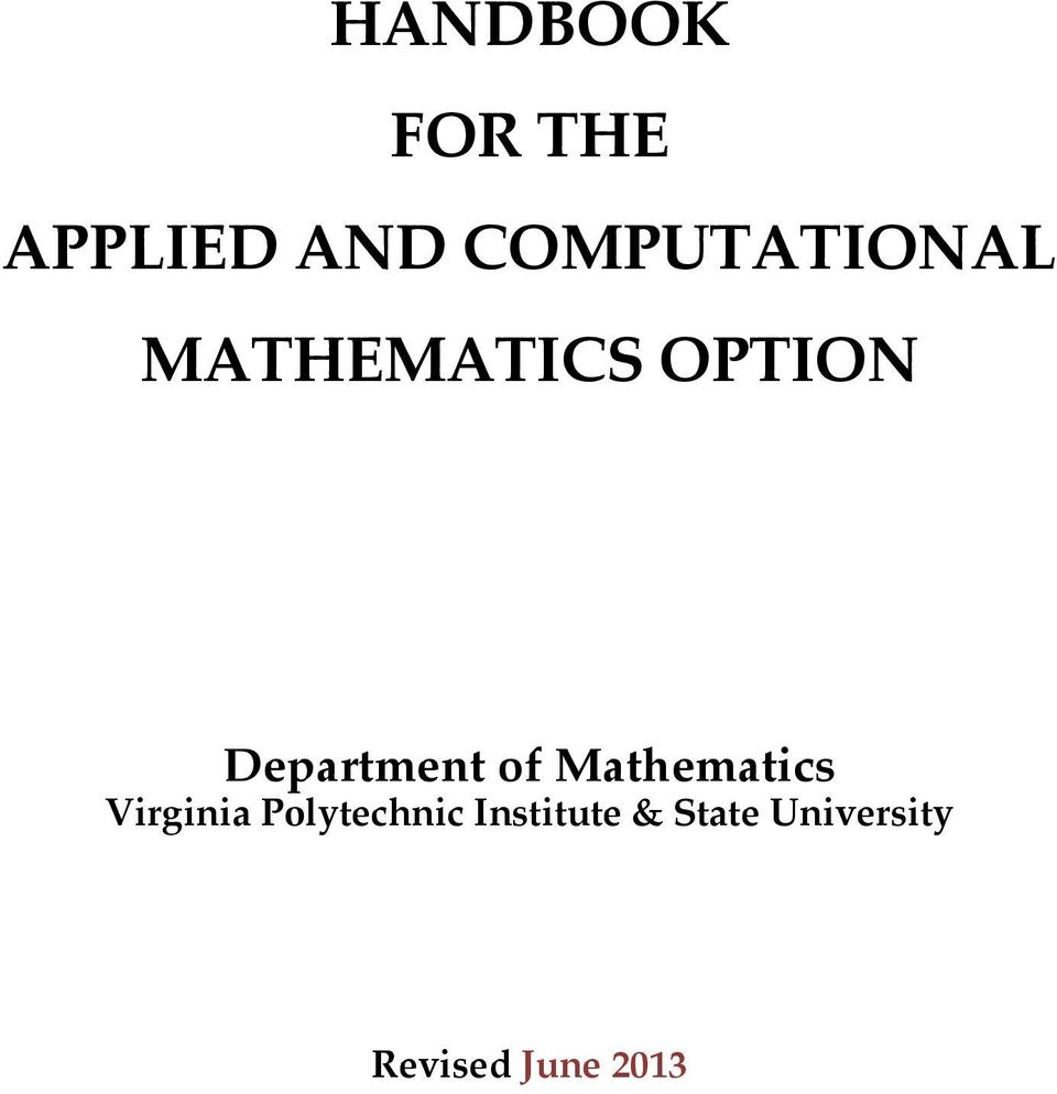 Department of Mathematics Virginia