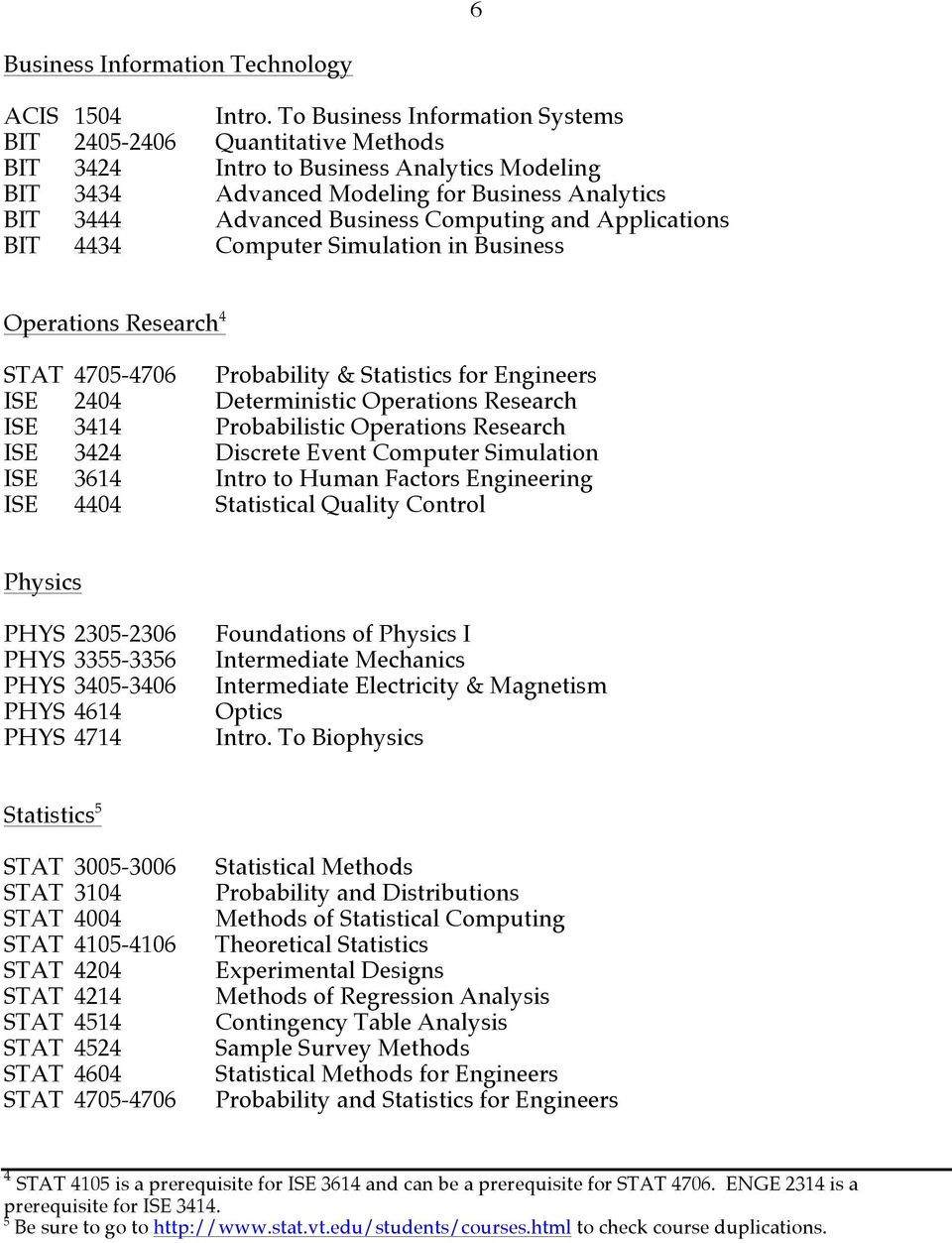 and Applications BIT 4434 Computer Simulation in Business Operations Research 4 STAT 4705-4706 Probability & Statistics for Engineers ISE 2404 Deterministic Operations Research ISE 3414 Probabilistic