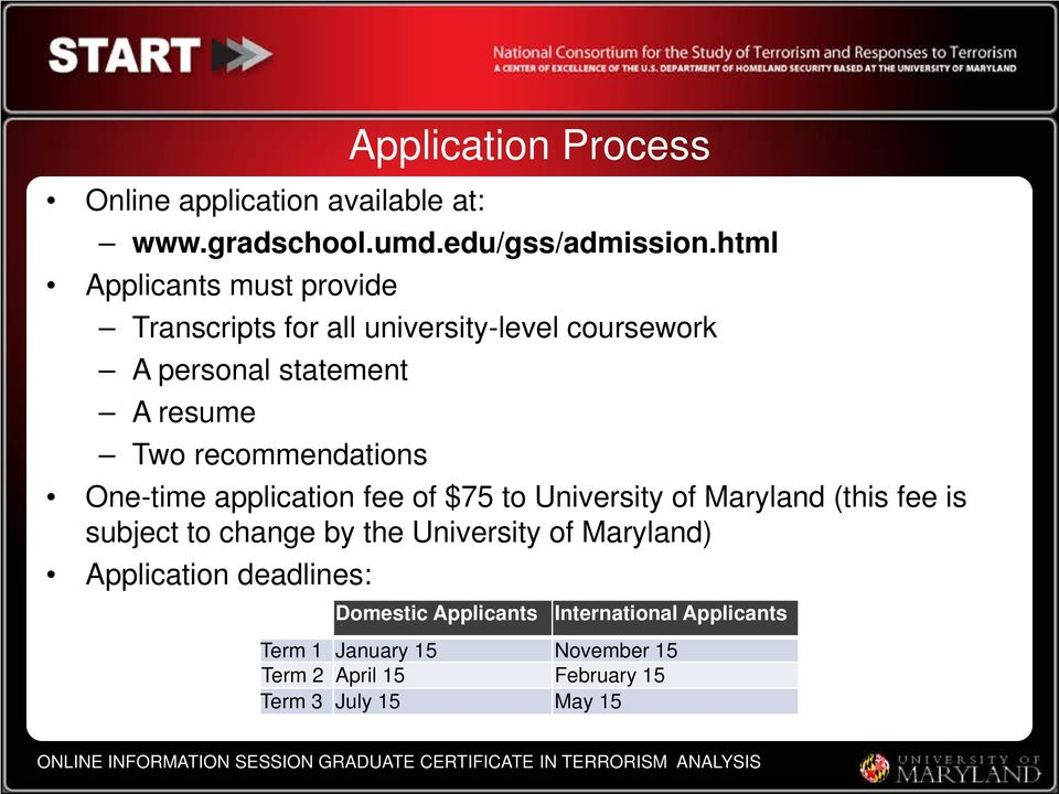 recommendations One-time application fee of $75 to University of Maryland (this fee is subject to change by the