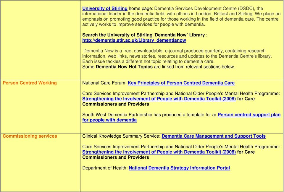 Search the University of Stirling Dementia Now Library : http://dementia.stir.ac.