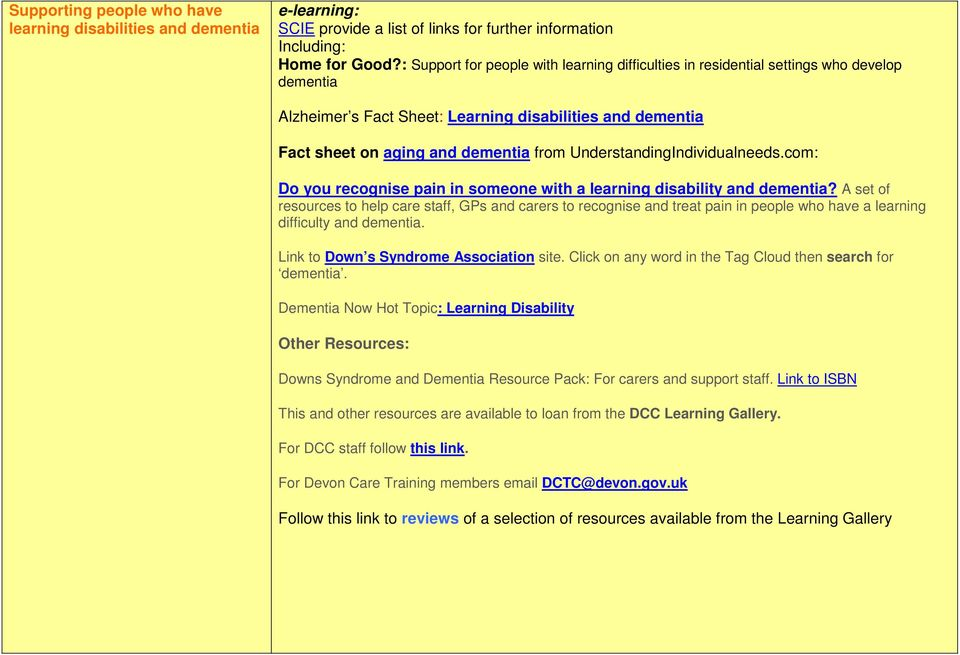 UnderstandingIndividualneeds.com: Do you recognise pain in someone with a learning disability and dementia?