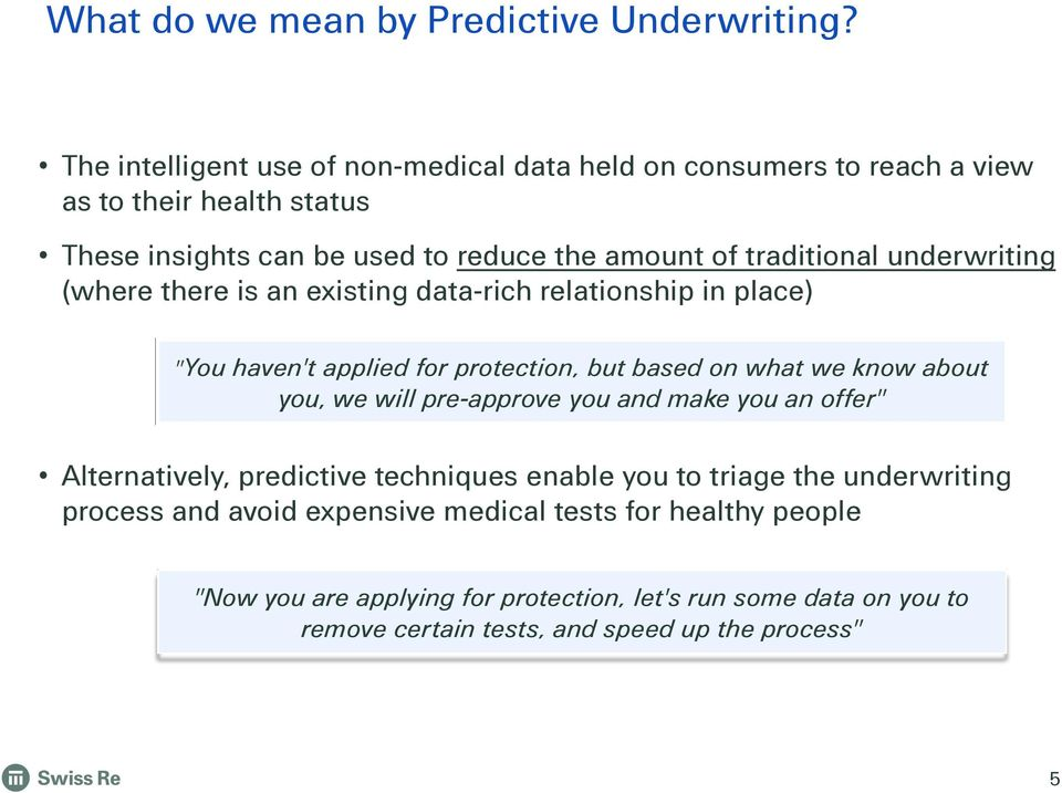 "underwriting (where there is an existing data-rich relationship in place) ""You haven't applied for protection, but based on what we know about you, we will"