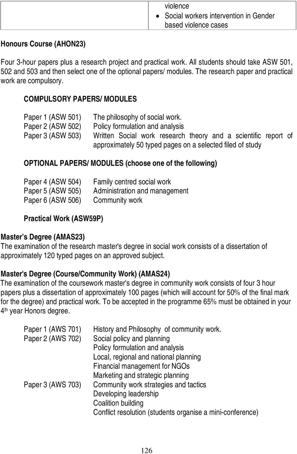 COMPULSORY PAPERS/ MODULES Paper 1 (ASW 501) Paper 2 (ASW 502) Paper 3 (ASW 503) The philosophy of social work.