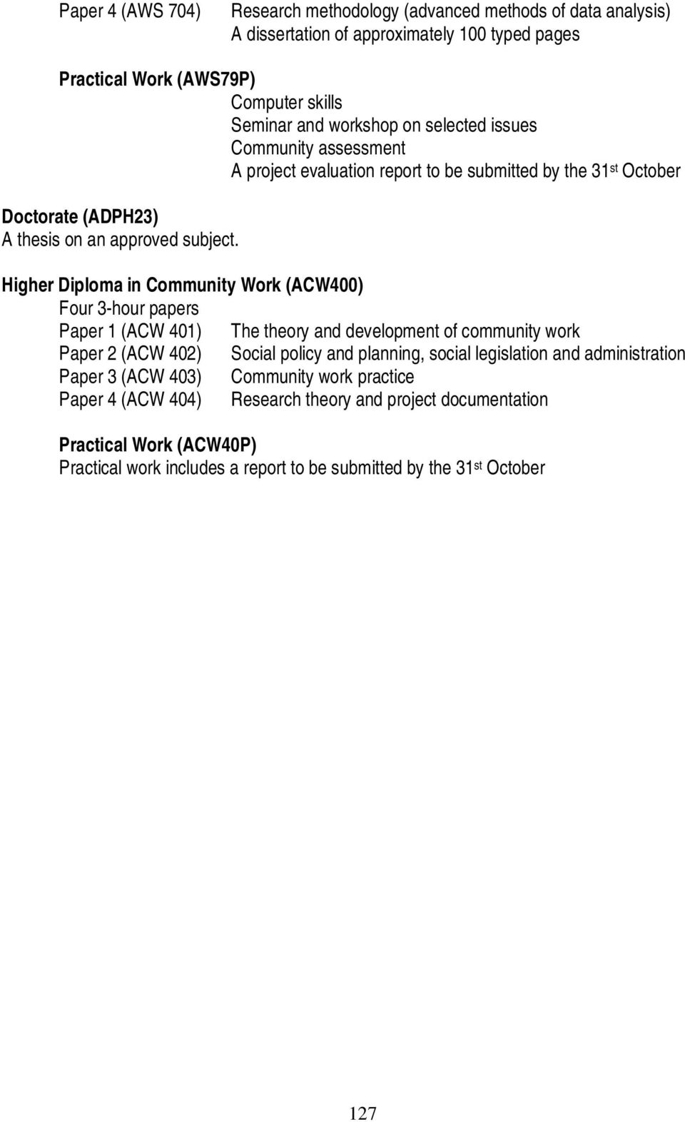 Higher Diploma in Community Work (ACW400) Four 3-hour papers Paper 1 (ACW 401) The theory and development of community work Paper 2 (ACW 402) Social policy and planning, social
