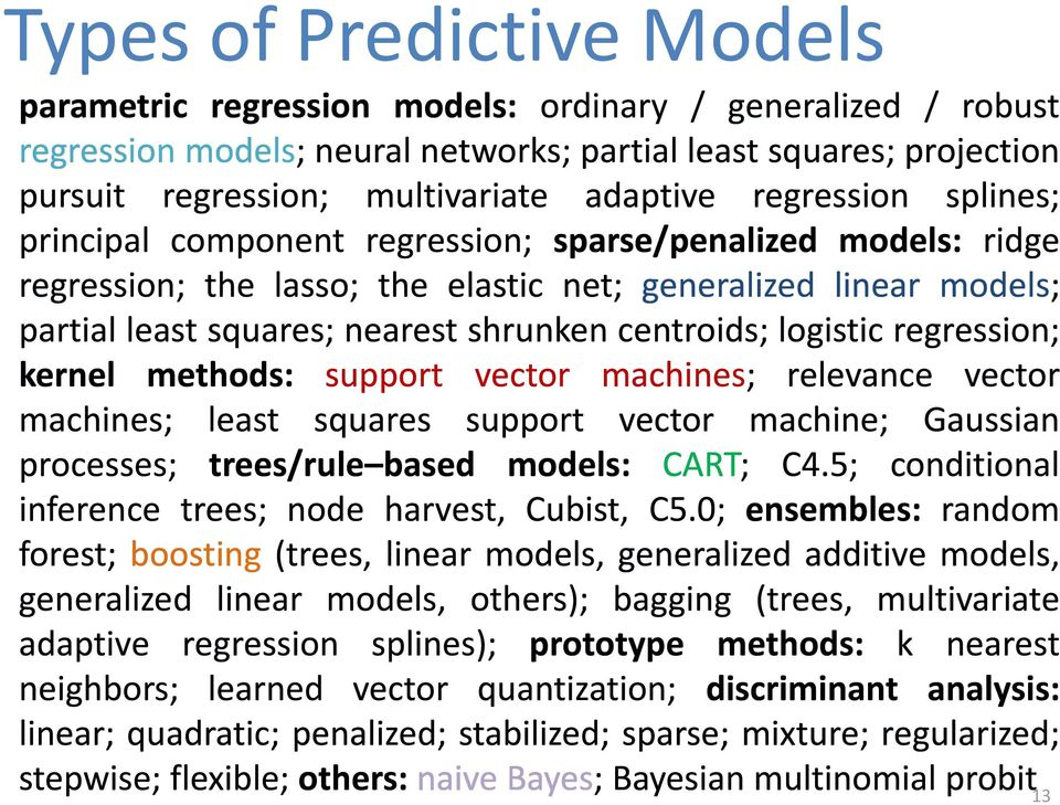 centroids; logistic regression; kernel methods: support vector machines; relevance vector machines; least squares support vector machine; Gaussian processes; trees/rule based models: CART; C4.