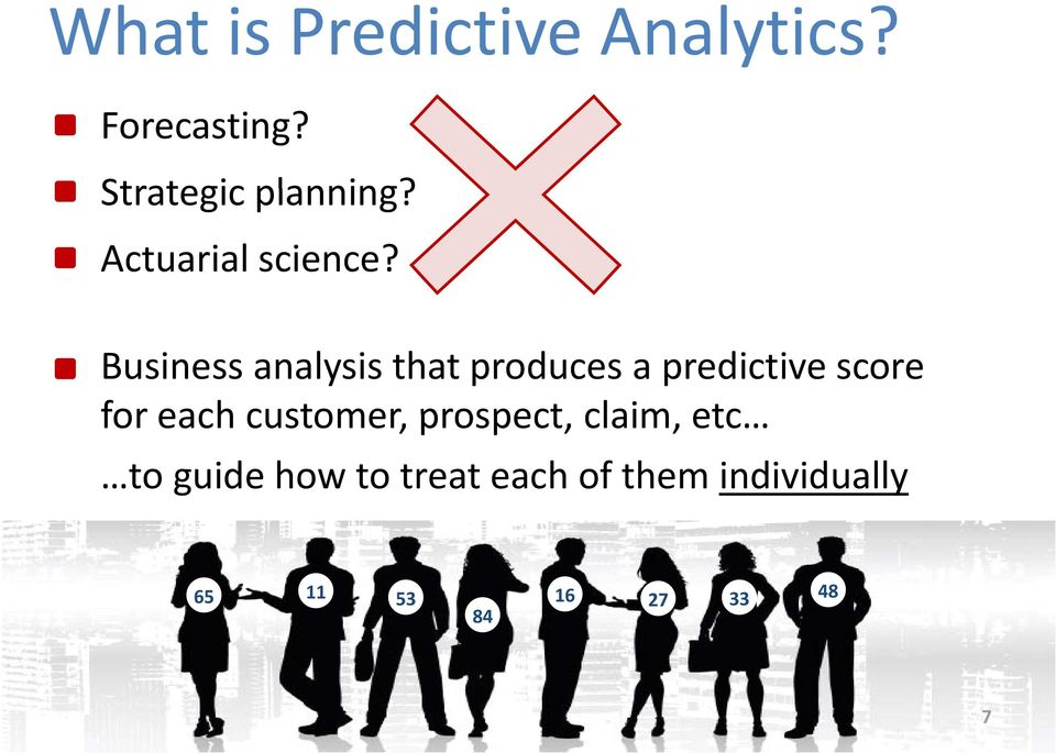 Business analysis that produces a predictive score for each