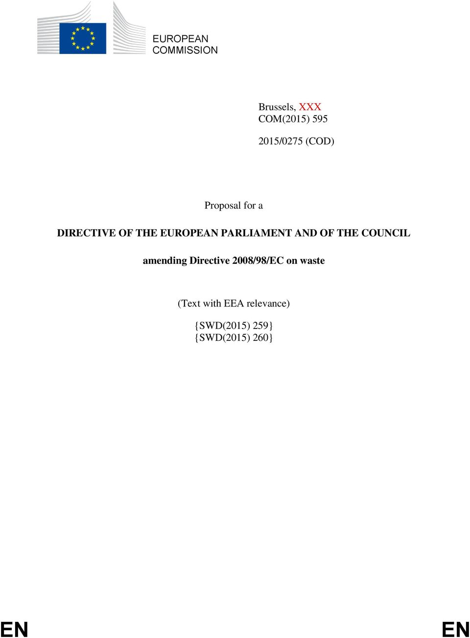 AND OF THE COUNCIL amending Directive 2008/98/EC on waste