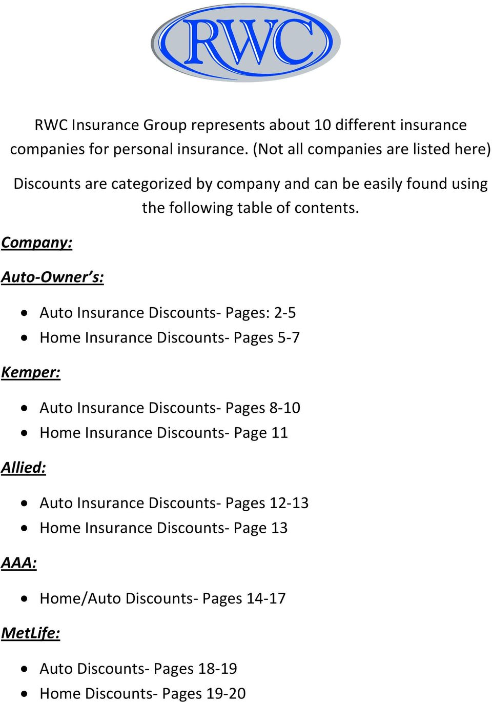 Company: Auto-Owner s: Auto Insurance Discounts- Pages: 2-5 Home Insurance Discounts- Pages 5-7 Kemper: Auto Insurance Discounts- Pages 8-10 Home