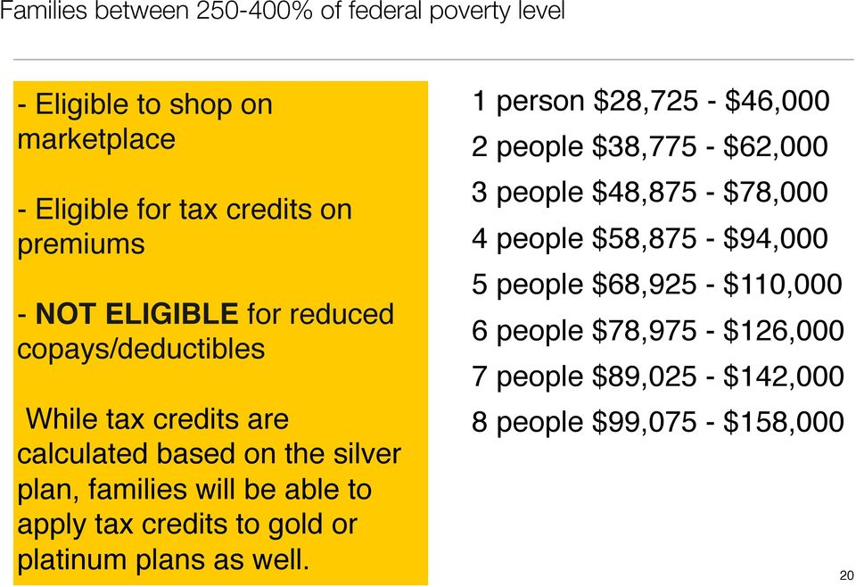 tax credits to gold or platinum plans as well.