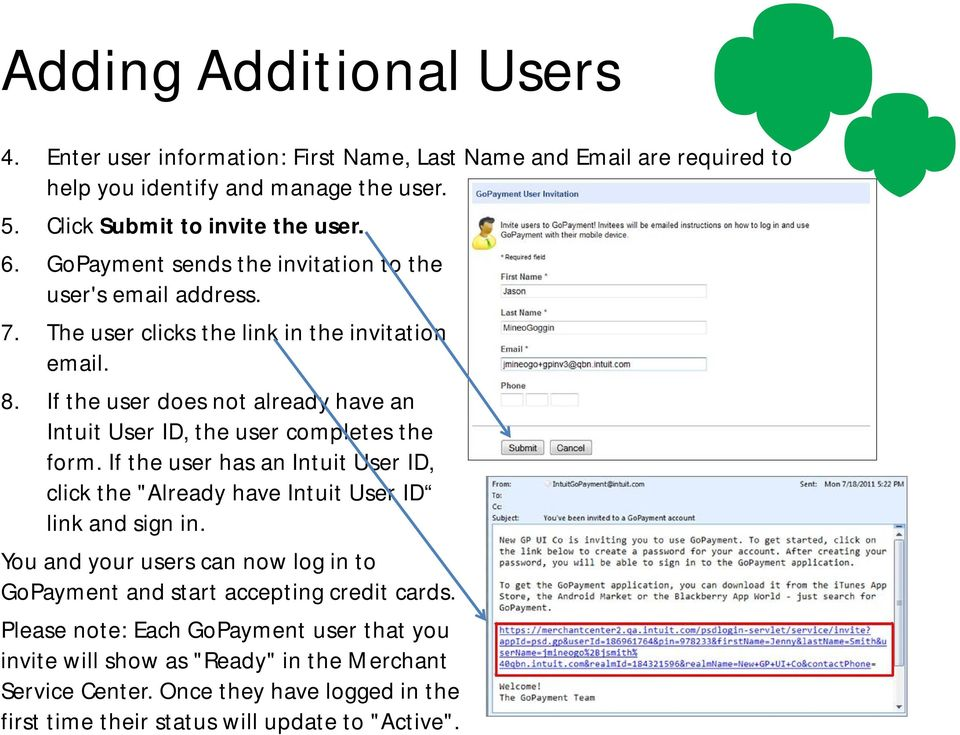 "If the user does not already have an Intuit User ID, the user completes the form. If the user has an Intuit User ID, click the ""Already have Intuit User ID link and sign in."