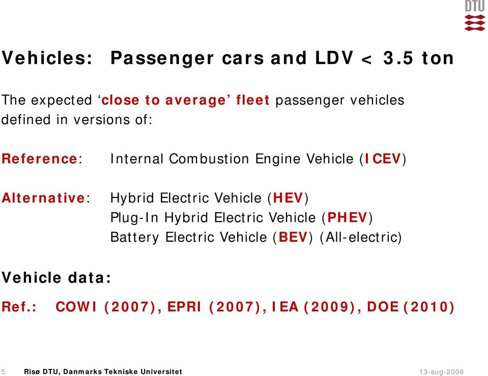 Reference: Internal Combustion Engine Vehicle (ICEV) Alternative: Hybrid Electric Vehicle