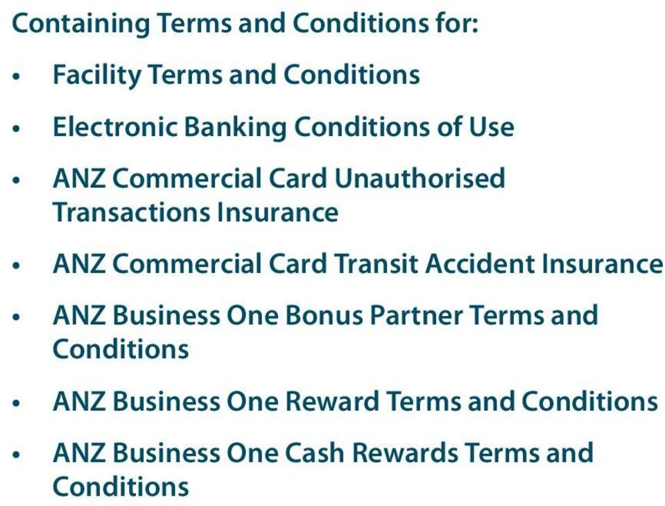 Card Transit Accident Insurance ANZ Business One Bonus Partner Terms and Conditions ANZ