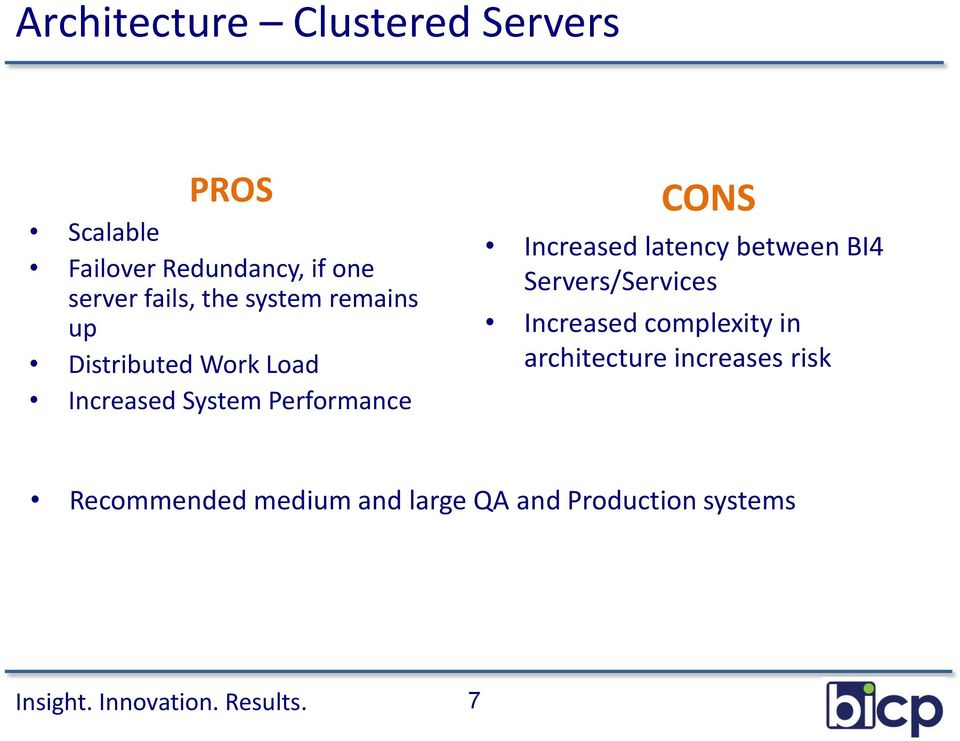 CONS Increased latency between BI4 Servers/Services Increased complexity in