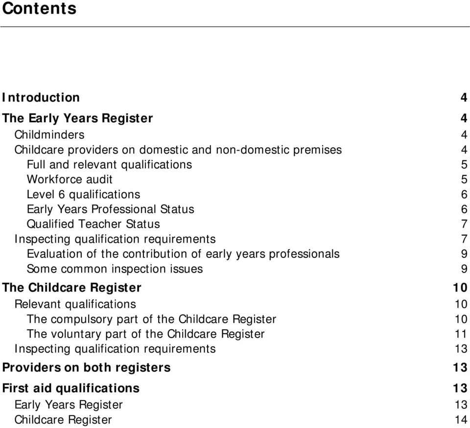 years professionals 9 Some common inspection issues 9 The Childcare Register 10 Relevant qualifications 10 The compulsory part of the Childcare Register 10 The voluntary