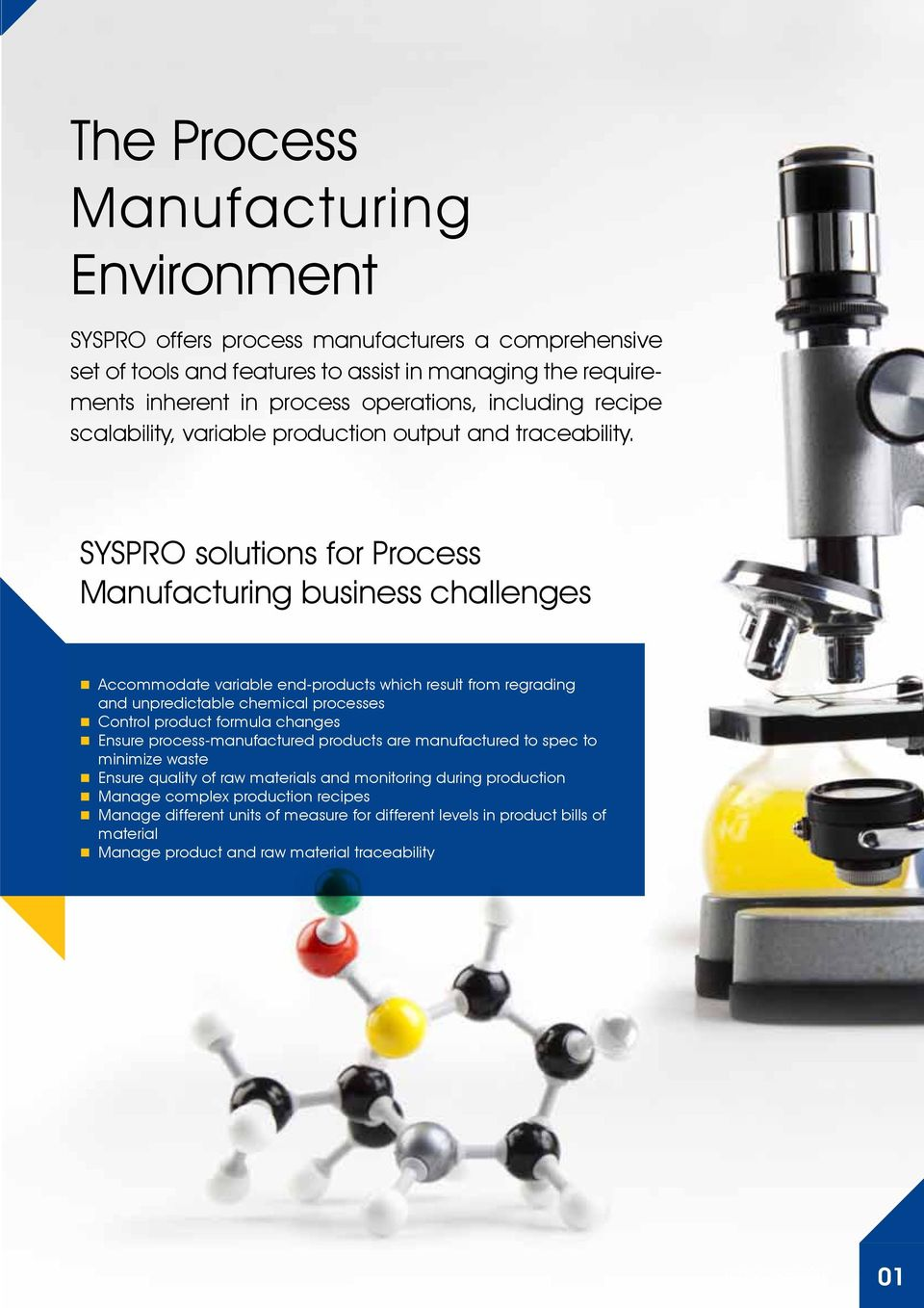SYSPRO solutions for Process Manufacturing business challenges Accommodate variable end-products which result from regrading and unpredictable chemical processes Control product formula