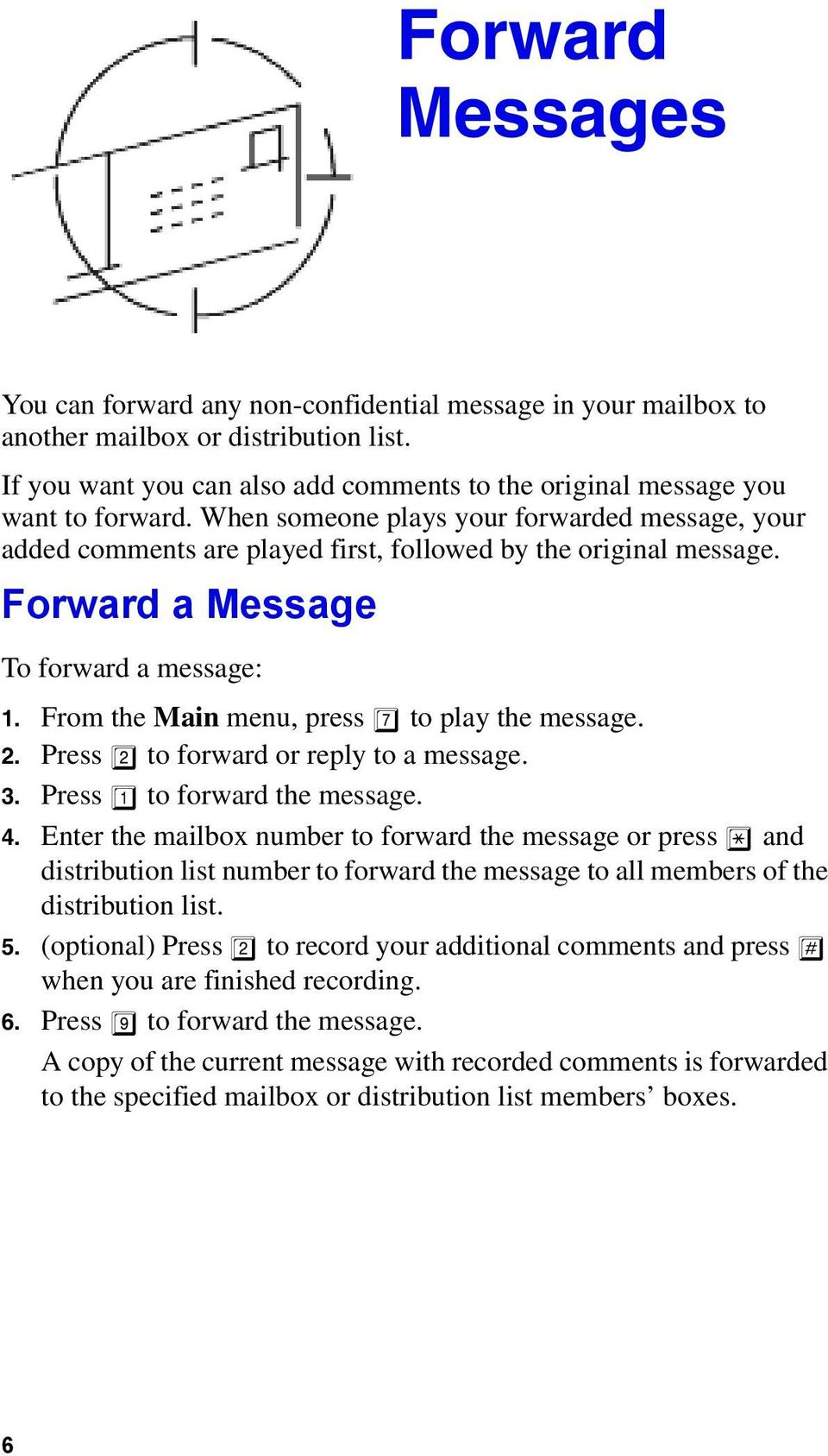 Forward a Message To forward a message: 1. From the Main menu, press 7 to play the message. 2. Press 2 to forward or reply to a message. 3. Press 1 to forward the message. 4.