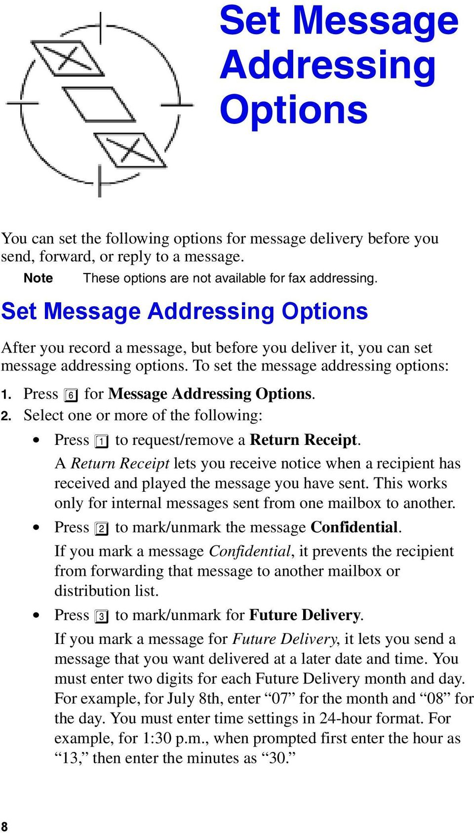 Press 6 for Message Addressing Options. 2. Select one or more of the following: Press 1 to request/remove a Return Receipt.