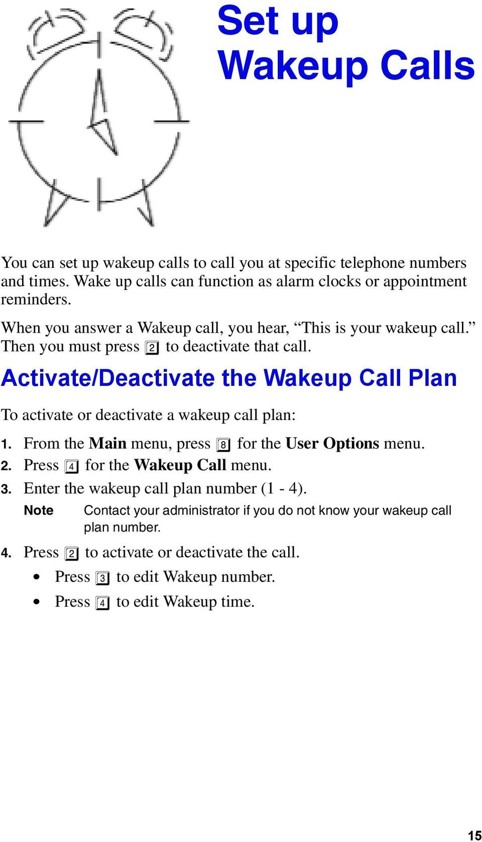 Activate/Deactivate the Wakeup Call Plan To activate or deactivate a wakeup call plan: 1. From the Main menu, press 8 for the User Options menu. 2.