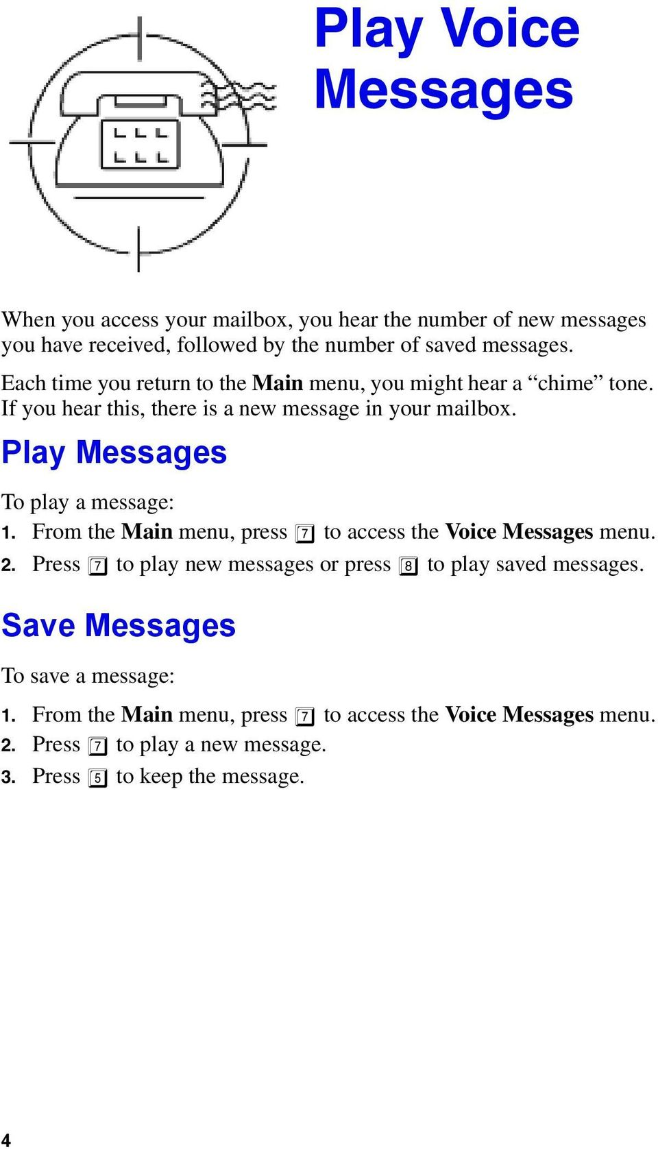 Play Messages To play a message: 1. From the Main menu, press 7 to access the Voice Messages menu. 2.