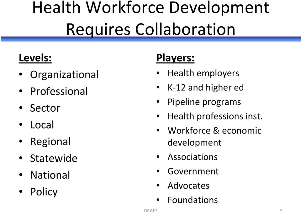 employers K 12 and higher ed Pipeline programs Health professions inst.
