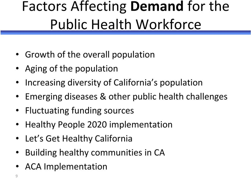 & other public health challenges Fluctuating funding sources Healthy People 2020