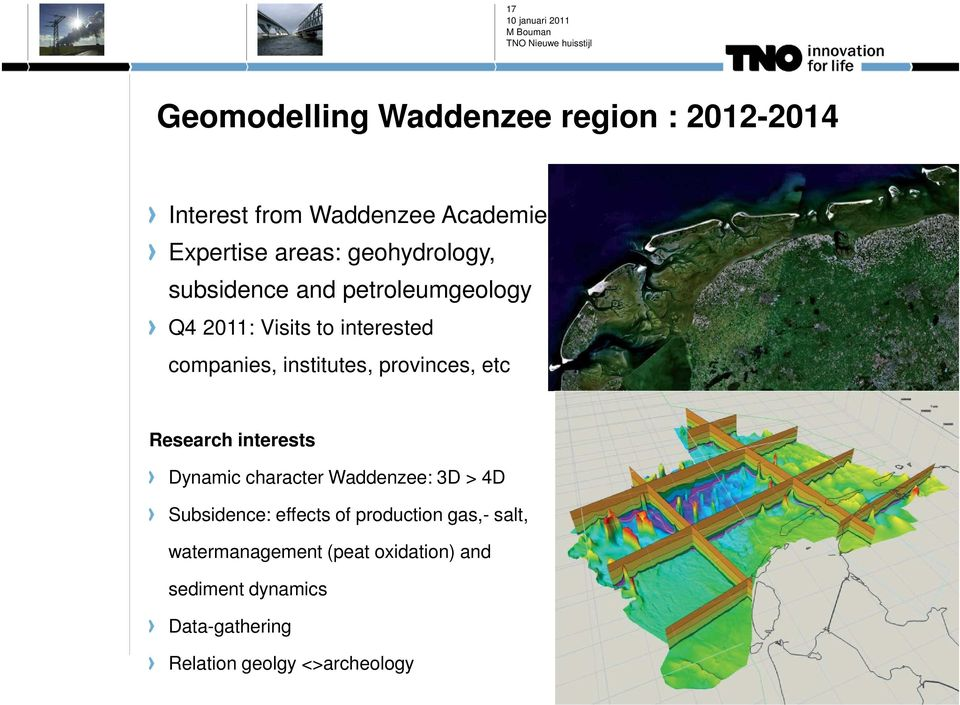 provinces, etc Research interests Dynamic character Waddenzee: 3D > 4D Subsidence: effects of