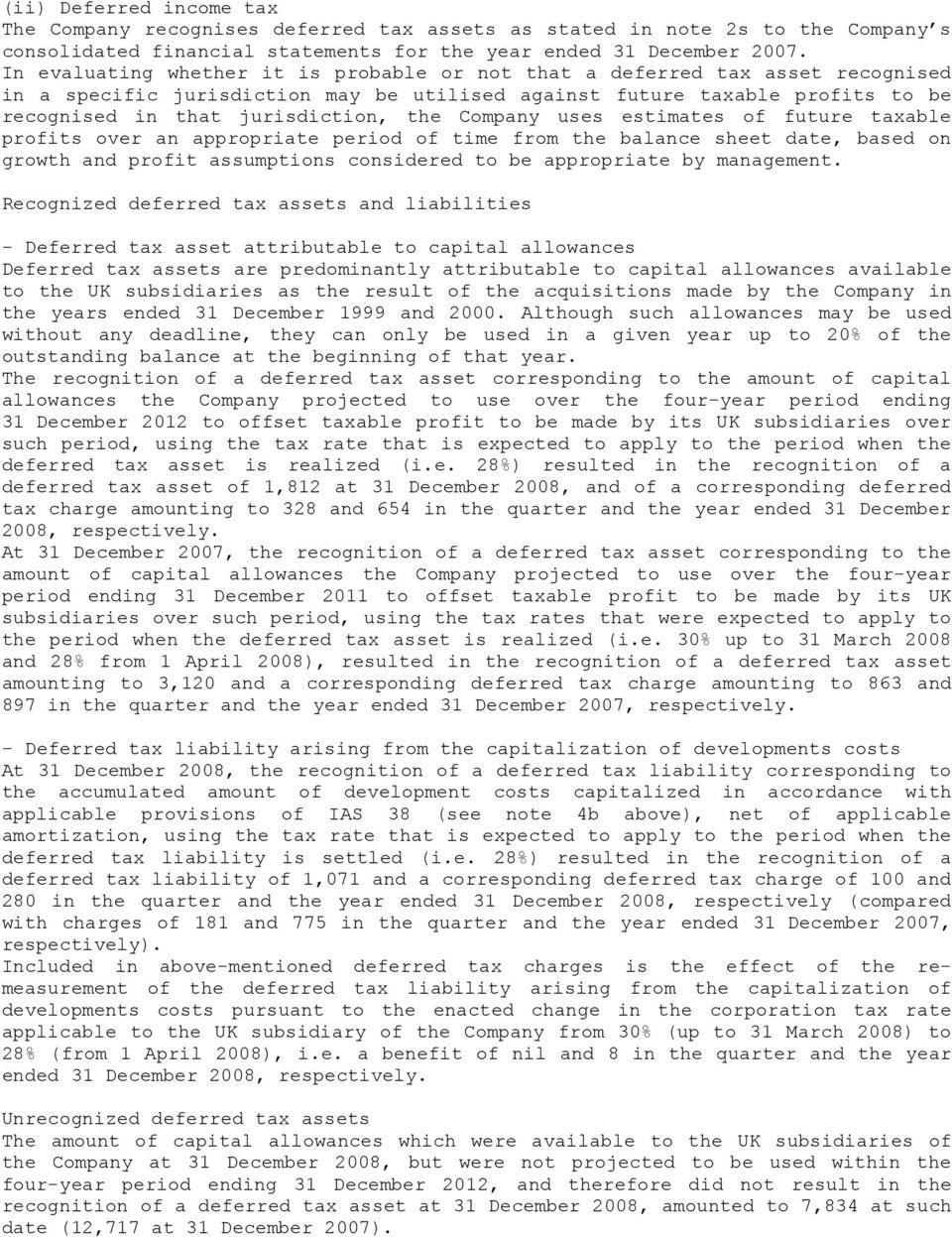 Company uses estimates of future taxable profits over an appropriate period of time from the balance sheet date, based on growth and profit assumptions considered to be appropriate by management.