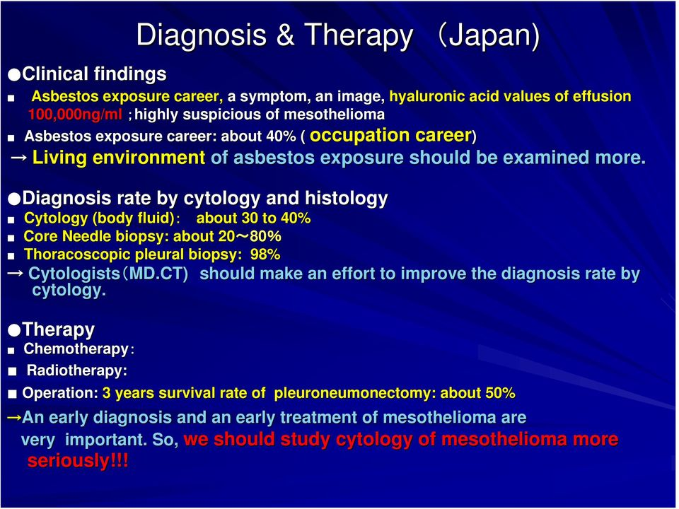 Asbestos exposure career: about 40% ( Diagnosis rate by cytology and histology Cytology (body fluid): about 30 to 40% Core Needle biopsy: about 20~80 80% Thoracoscopic pleural biopsy: 98%