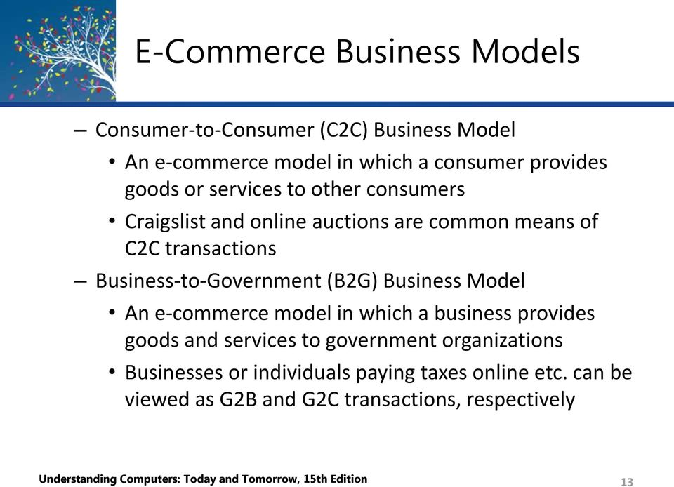 Business Model An e-commerce model in which a business provides goods and services to government organizations Businesses or