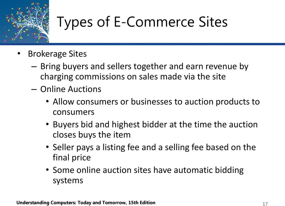 highest bidder at the time the auction closes buys the item Seller pays a listing fee and a selling fee based on the