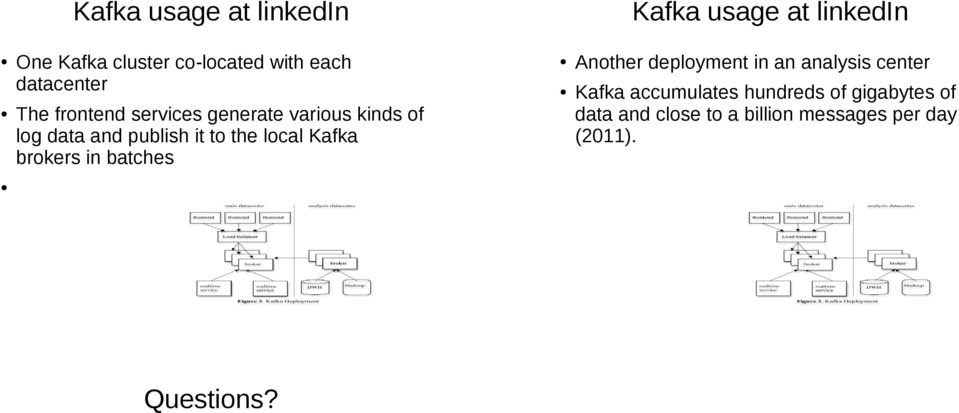 the local Kafka brokers in batches Another deployment in an analysis center Kafka